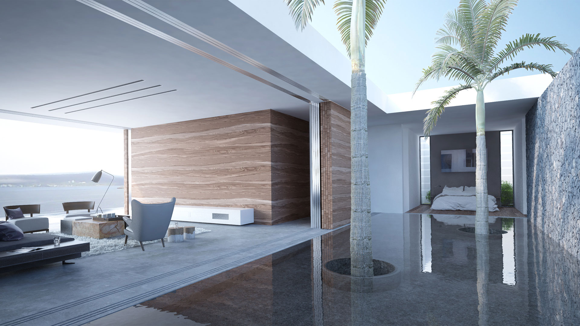 Luxury home in Mayotte - 3D architectural visualisation Terri Brown 3DS Max Vray Marvelous Designer Pool Lounge Coast