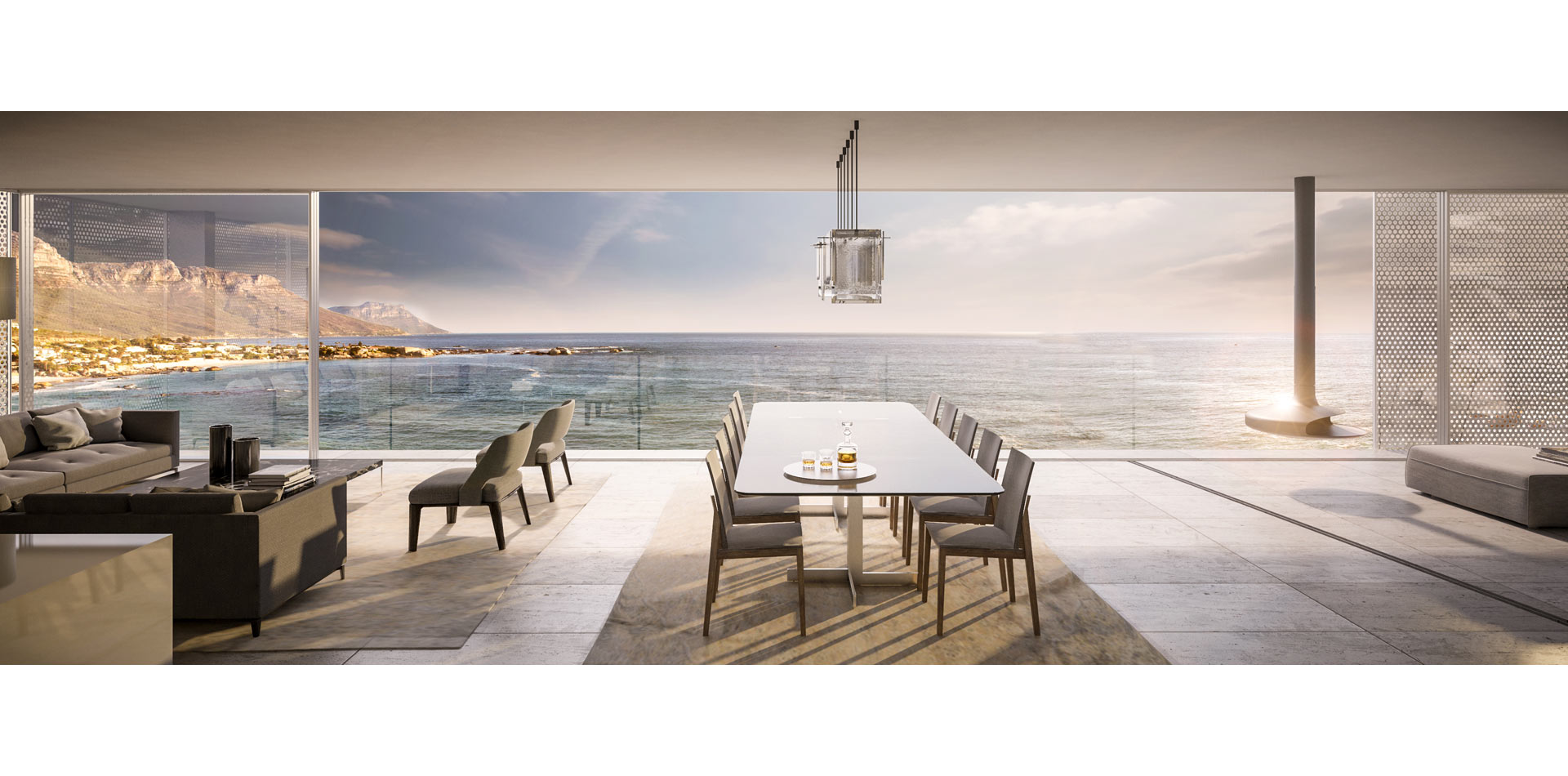 Terri Brown 3D visualisation Vray 3DS Max Cape Town Coast Luxury Modern Marble Penthouse Dining Vista View