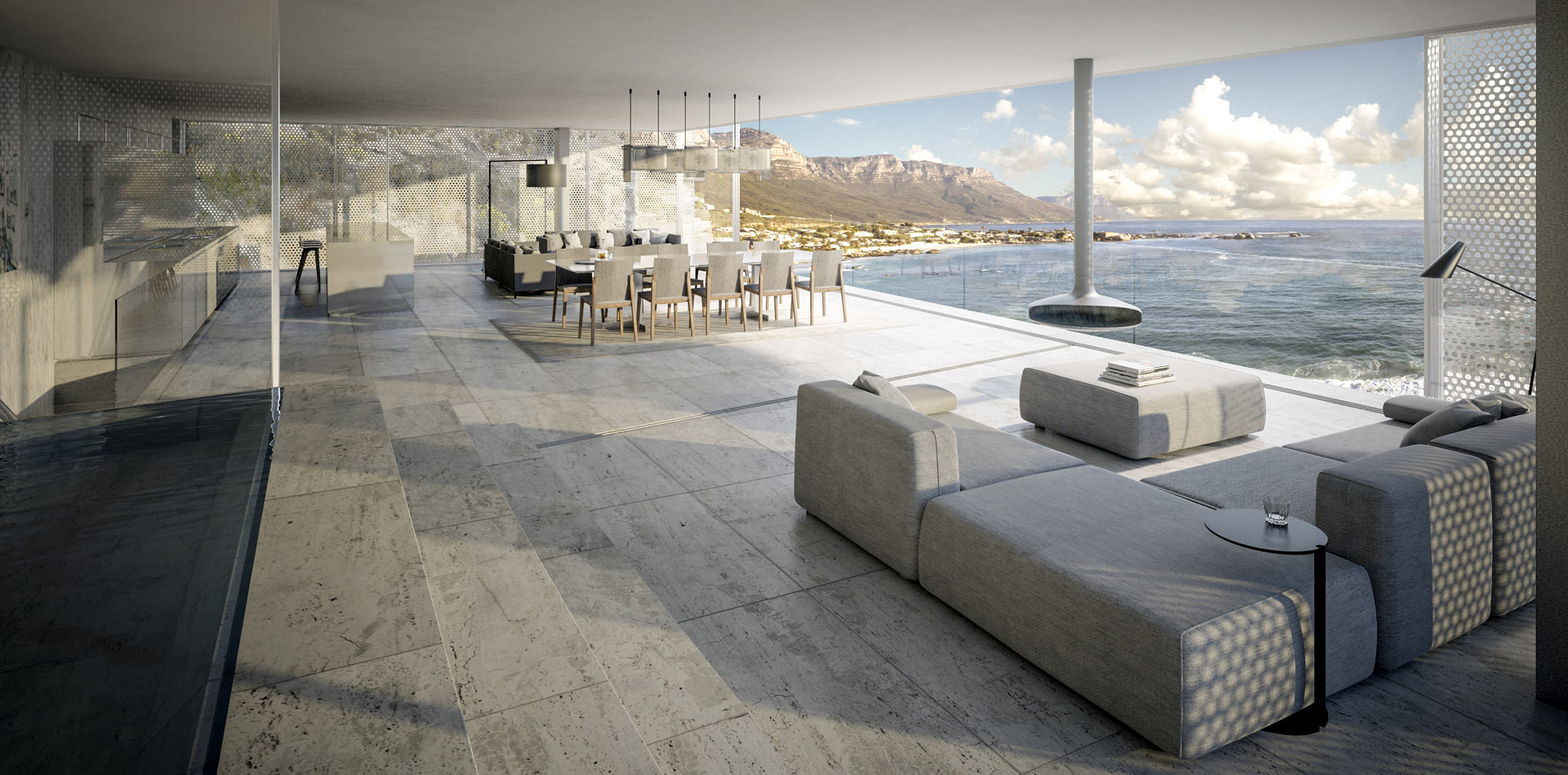 Terri Brown 3D visualisation Vray 3DS Max Cape Town Coast Luxury Modern Marble Penthouse Living