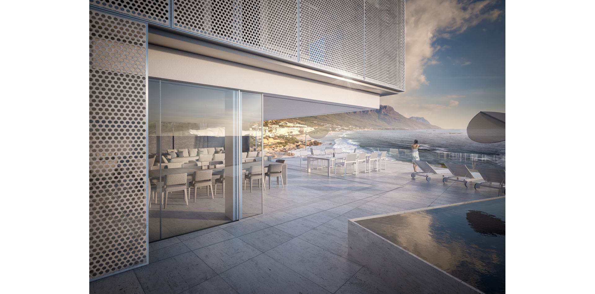 Terri Brown 3D visualisation Vray 3DS Max Cape Town Coast Luxury Modern Marble Pool Patio View