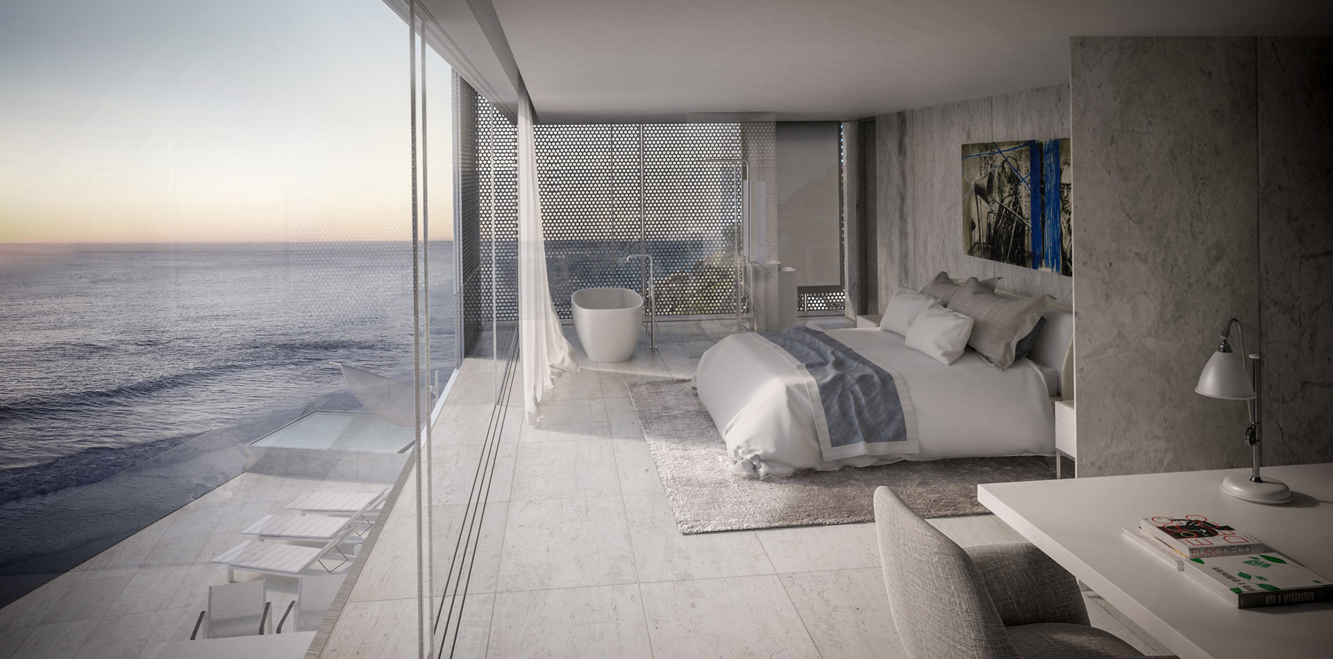 Terri Brown 3D visualisation Vray 3DS Max Cape Town Coast Luxury Modern Marble Bedroom Study View
