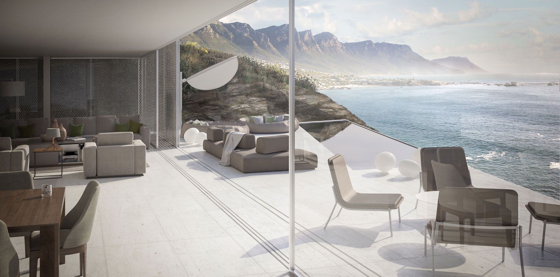 Terri Brown 3D visualisation Vray 3DS Max Cape Town Coast Luxury Modern Marble Pool Living