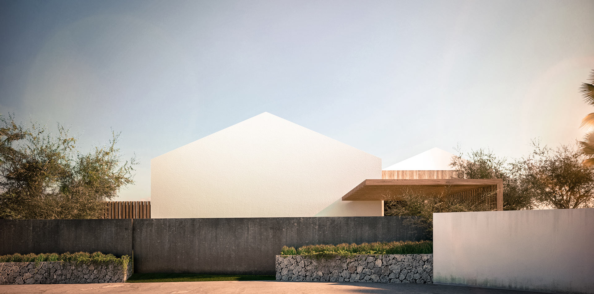 rior Design Vray Reunion Island Tropical Luxury Modern PNTV Entrance