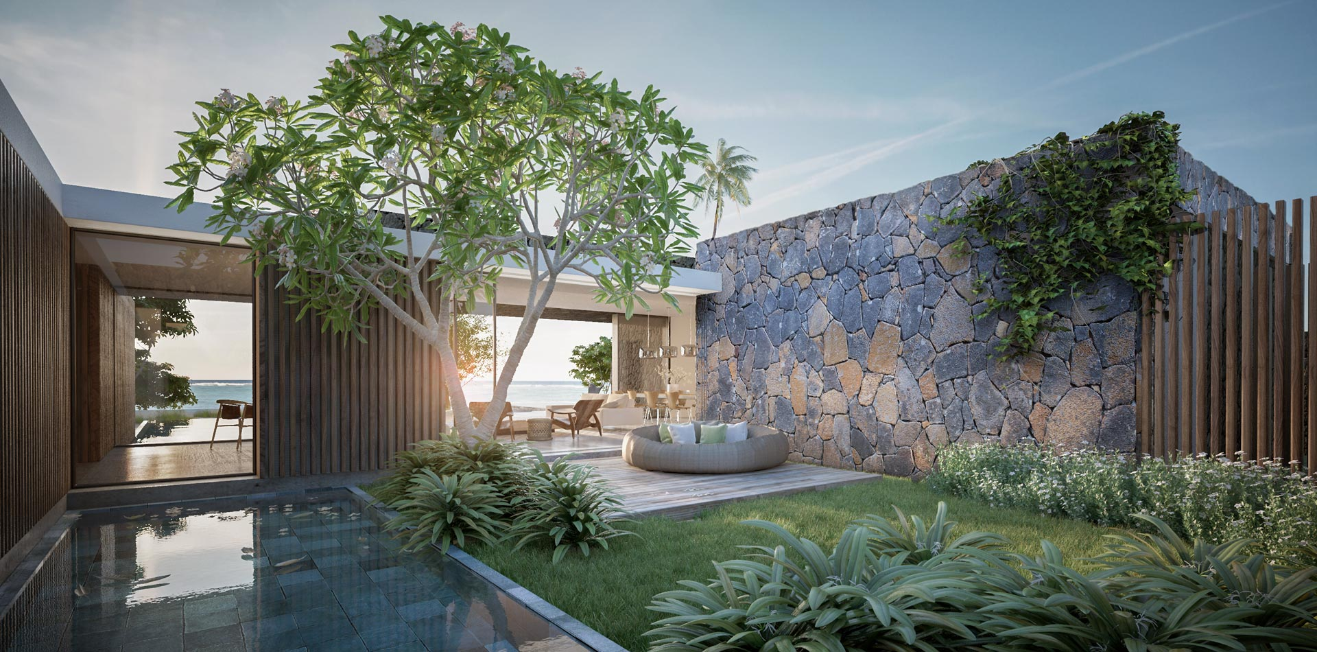 3D Visualisation 3ds max Terri Brown Architecture Interior Design Vray Mauritius East Coast Tropical Luxury Modern Courtyard
